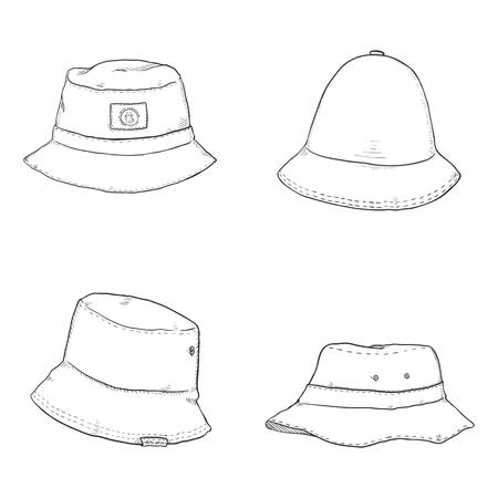 d66fbc50115 Vector Set of Bucket Hats. Hip-hop Style Headwear. Illustration