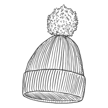 Vector Single Sketch Knitted Winter Cap with Pompom Illustration