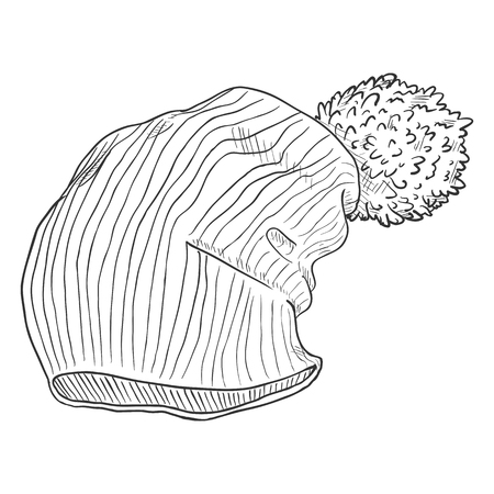Vector Single Sketch Winter Knitted Hat with Pompom Illustration