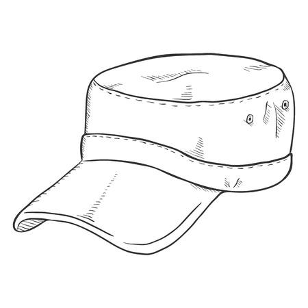 peak hat: Vector Sketch Army Cap. Summer Military Head Gear