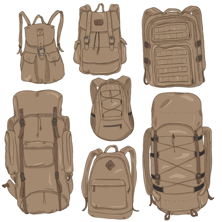 Vector Set of Brown Cartoon Backpacks. Casual, Fashion, Hiking, Sport and Tactical Knapsacks Illustration