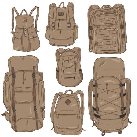 Vector Set of Brown Cartoon Backpacks. Casual, Fashion, Hiking, Sport and Tactical Knapsacks Illustration
