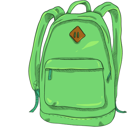 Vector Single Light Green Cartoon Casual Urban Style Backpack Illustration
