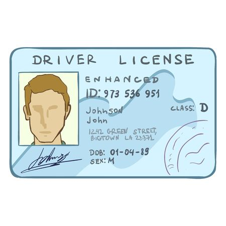Vector Cartoon Drivers ID with Male picture