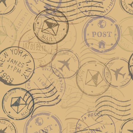 cliche: Vector Seamless Pattern Background of Postal Stamps