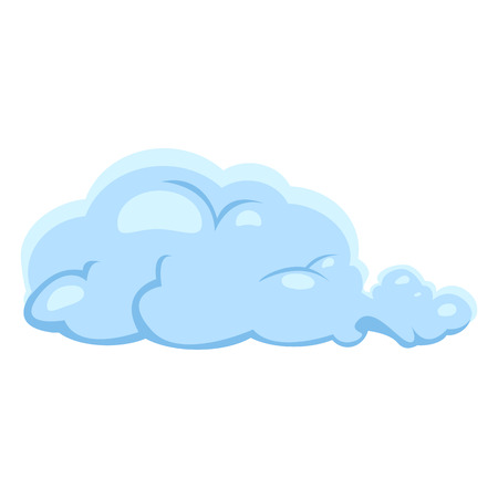 Vector Single Blue Cloud Icon on White Background
