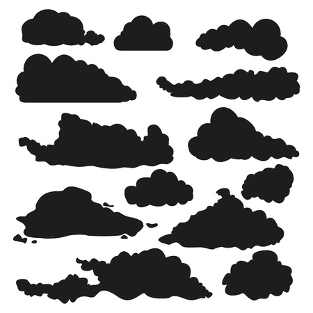 Vector Set of Black Silhouette Shapes of Clouds.
