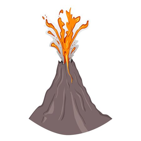 Vector SIngle Erupting Volcano on White Background Illustration