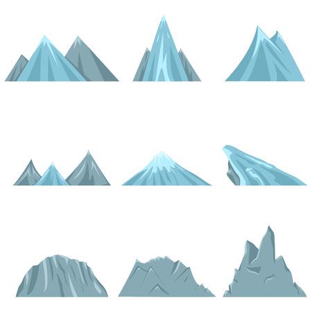 ranges: Vector Set of Flat Landscape Illustrations. Different Mounts, Hills and Mountain Ranges.