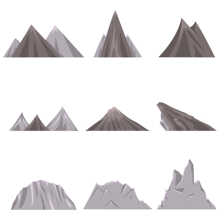 Vector Set of Flat Landscape Illustrations. Mounts, Hills and Mountain Ranges