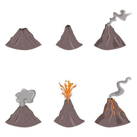 Vector Set of Flat Color Volcano Illustrations on White Background Illustration