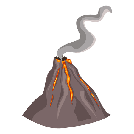 seismology: Vector SIngle Erupting Volcano on White Background Illustration