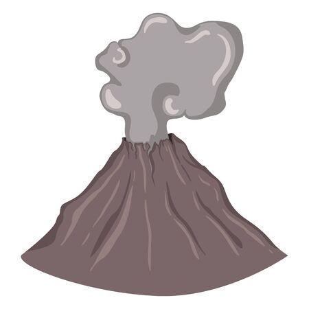 seismology: Vector SIngle Volcano with Cloud of Smoke