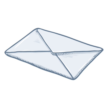 glued: Vector Single Cartoon Glued Blank White Envelope Illustration