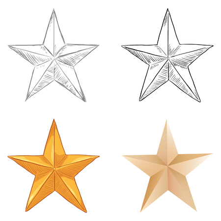 Vector Set of Star Shapes. Different Draw Styles.