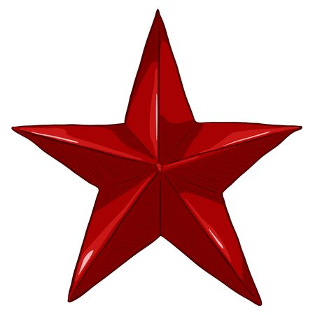 Vector Cartoon Red Star on White Background Illustration