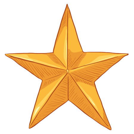 Vector Cartoon Gold Star on White Background