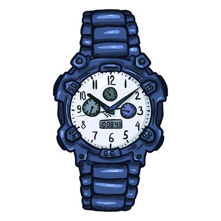 puntualidad: Reloj de pulsera azul moderno de la historieta de los hombres