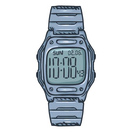 Cartoon Classic Metallic Digital Wrist Watch Ilustração