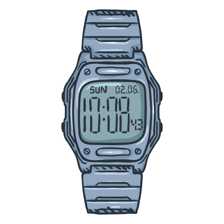 Cartoon Classic Metallic Digital Wrist Watch Illustration