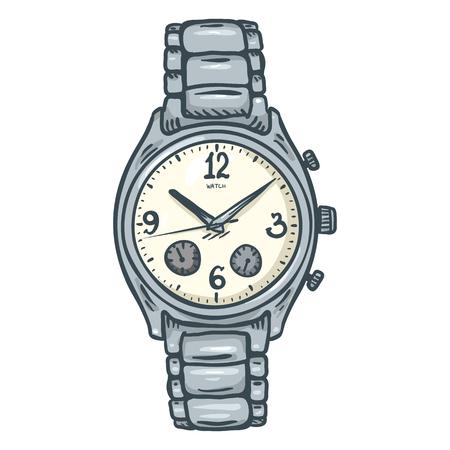 Classic Mens Wrist Watch with Metallic Watchband