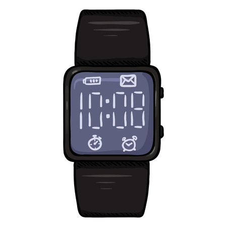 Cartoon Black Modern Digital Wrist Watch