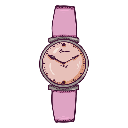 Cartoon Womens Wrist Watch with Pink Leather Watchband