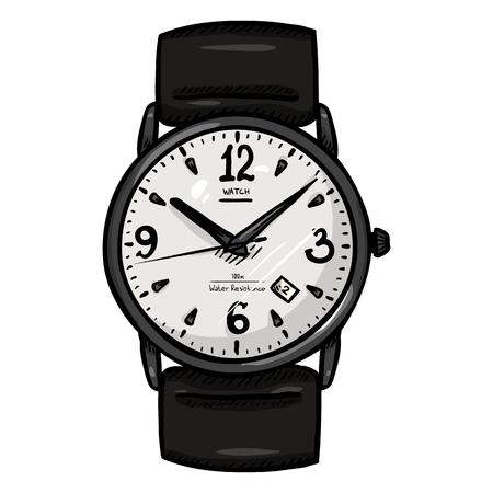 Sketch Classic Mens Wrist Watch with Black Leather Watchband