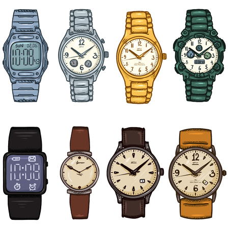Set of Cartoon Color Wrist Watches