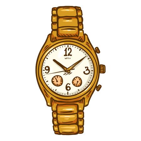 Cartoon Gold Mens Wrist Watch with Metallic Watchband Ilustração