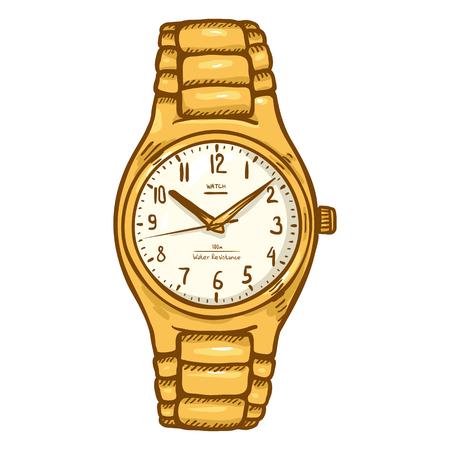 Karikatur Gold Herren Armbanduhr mit Metallic Uhrenarmband Standard-Bild - 75352920