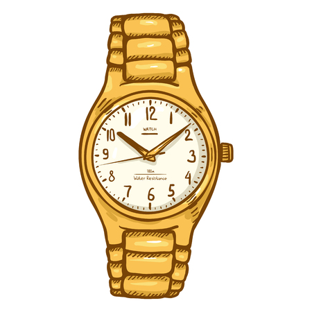 Cartoon Gold Mens Wrist Watch with Metallic Watchband Illustration