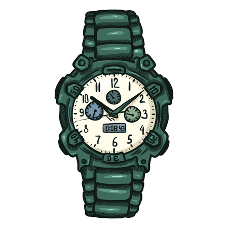 Vector Cartoon Green Modern Mens Wrist Watch
