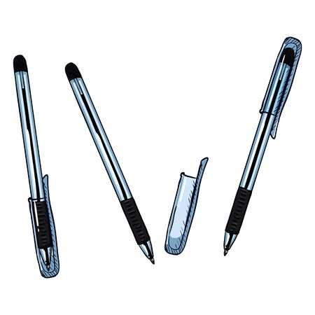 Vector Cartoon Set of Pens, Ballpoint Pens with Caps Variations on White Backdrop.