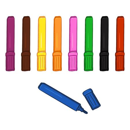 Ensemble de stylos-feutres colorés: violet, brun, jaune, orange, rose, vert, noir, rouge et bleu. Banque d'images - 76217875