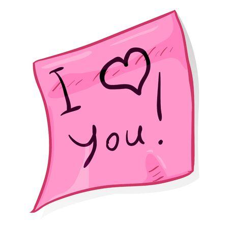 girlish: Vector Office Sticker on White Background. I Love You.