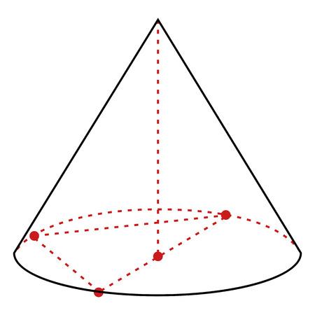 Vector Single Line Illustration - Cone on White Background Illustration