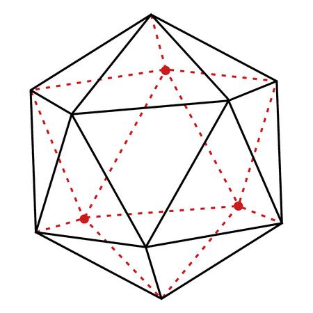 Vector Single Line Illustration - Polygon on White Background