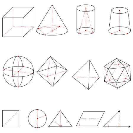 Vector Set of Geometrical Shapes on White Background