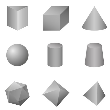 Vector Set of Gray Gradient Geometrical Shapes on White Background