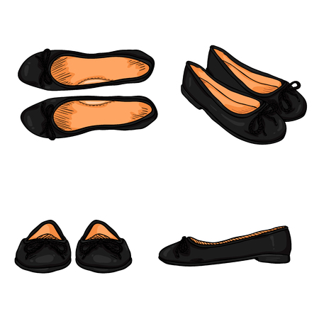 girlish: Vector Set of Cartoon Women Shoes. Variations Views of Black Ballet Flats Illustration