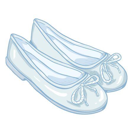 Vector Cartoon Illustration - Pair of White Women Ballet Flats