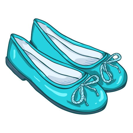 Vector Cartoon Illustration - Pair of Turquoise Women Ballet Flats Illustration