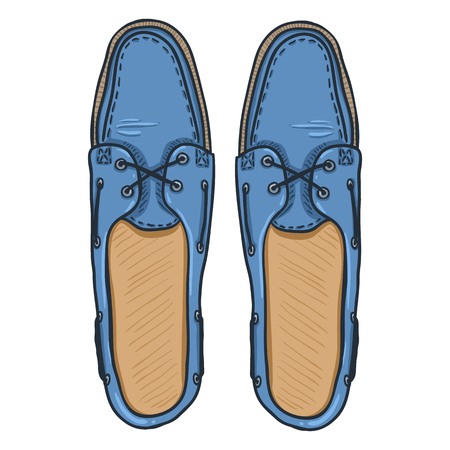 Vector Cartoon Illustration - Blue Topsider Men Shoes. Top View Illustration