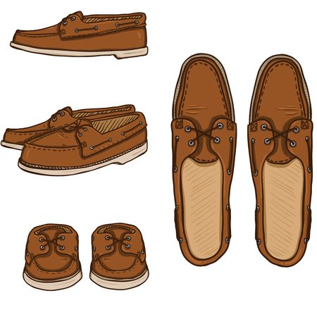 Vector Set of Cartoon Brown Topsider Men Shoes. Top, Side and Front View Illustration