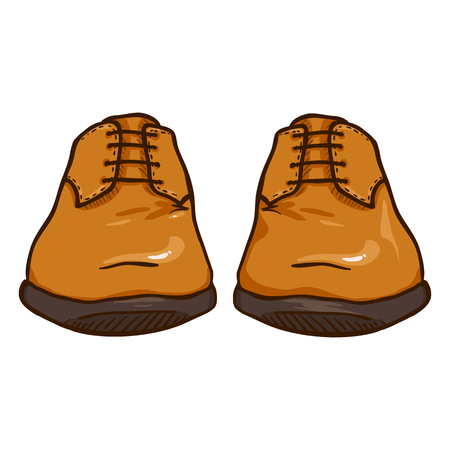 Vector Cartoon Illustration - Pair of Brown Leather Men Shoes. Front View