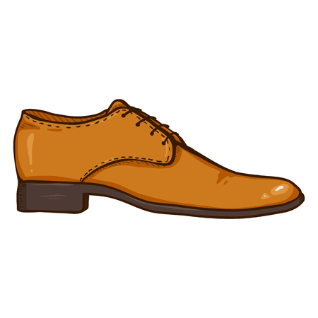 Vector Cartoon Illustration - Brown Leather Men Shoe.Side View