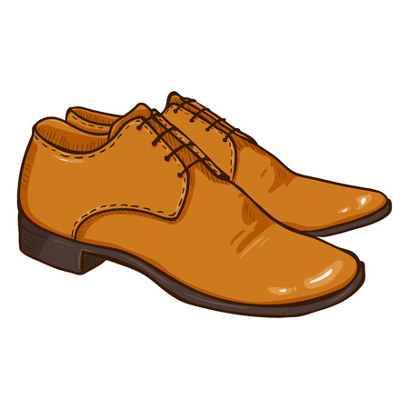 Vector Cartoon Illustration - Pair of Brown Leather Men Shoes