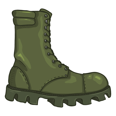 Vector Cartoon Khaki Army Boots. High Military Shoes. Side View Иллюстрация