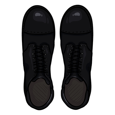 tough: Vector Cartoon Black Army Boots. High Military Shoes. Top View.